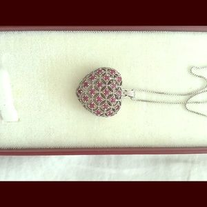 .925 sterling silver necklace w/ruby heart pendant
